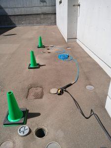 札幌市南区 排水管の高圧洗浄 屋外清掃準備完了