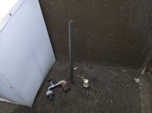 札幌市 白石区 菊水上町 屋外 散水栓 蛇口が取れた 修理前全景