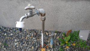 屋外散水栓から水漏れしている | 江別市 作業前①