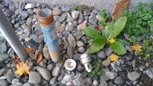 屋外散水栓から水漏れしている | 江別市 作業中①
